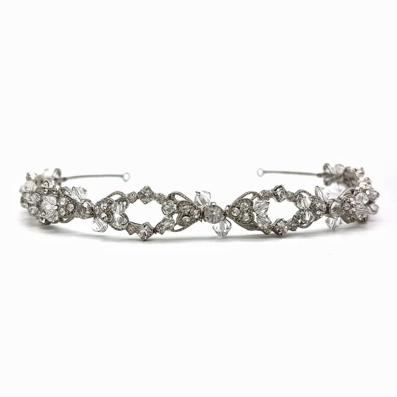 Silver rhodium bridal headband
