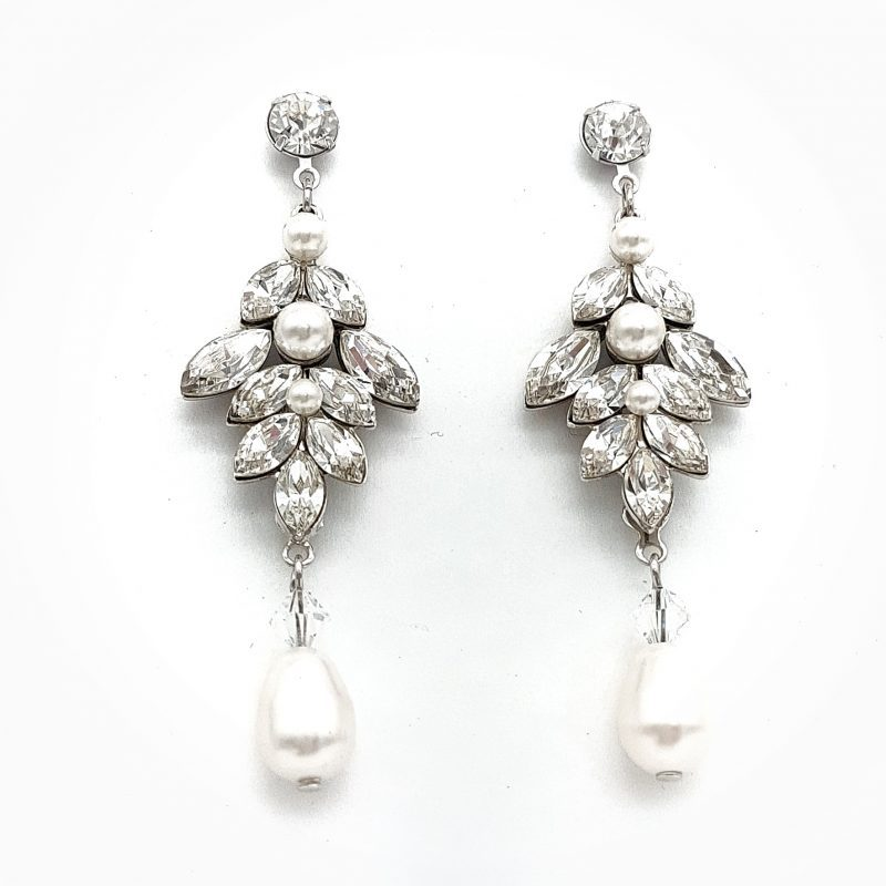 Swarovski Crystal & Pearl Earrings & Bracelet Set - 'Tahlia Set' (Silver/Gold/Rose Gold)