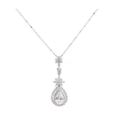 long silver pendant bridal necklace