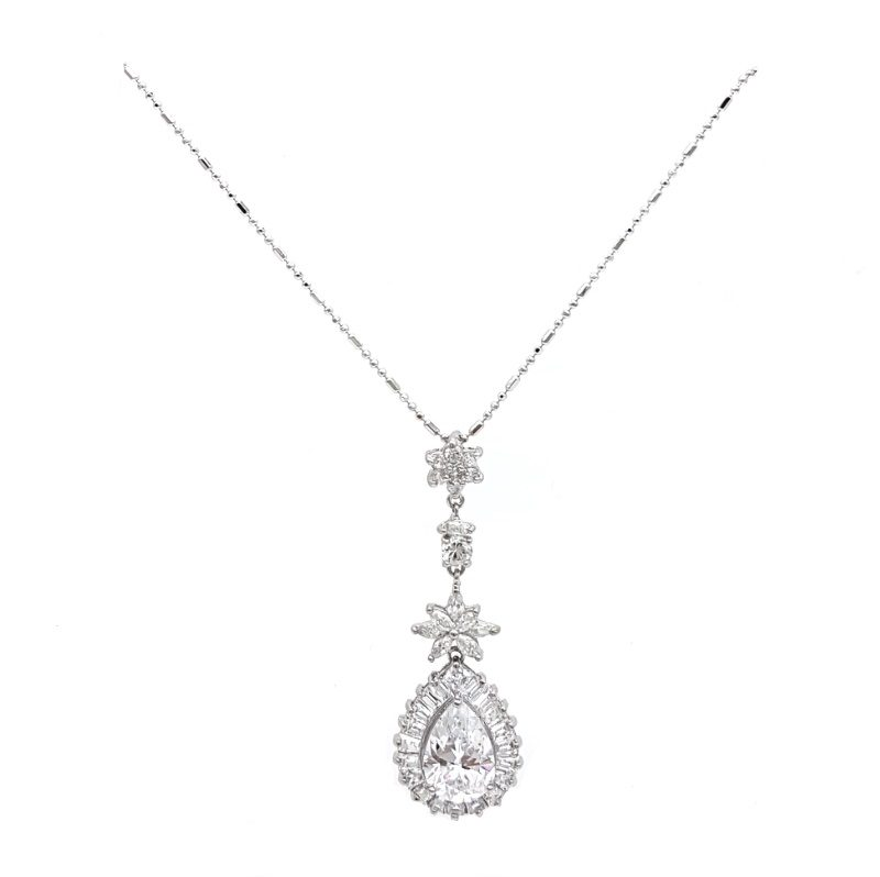 long silver pendant bridal necklace