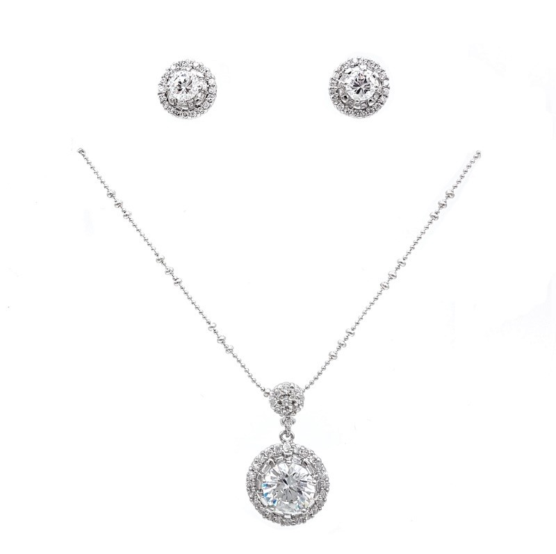 round silver necklace drop