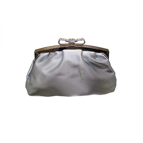 silver satin bridal clutch