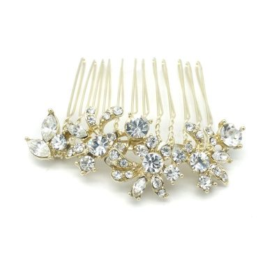 gold crystal bridal hair comb
