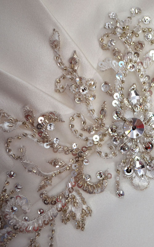 Ivory Strapless Embellished Wedding Dress - K95025 - Sz 12