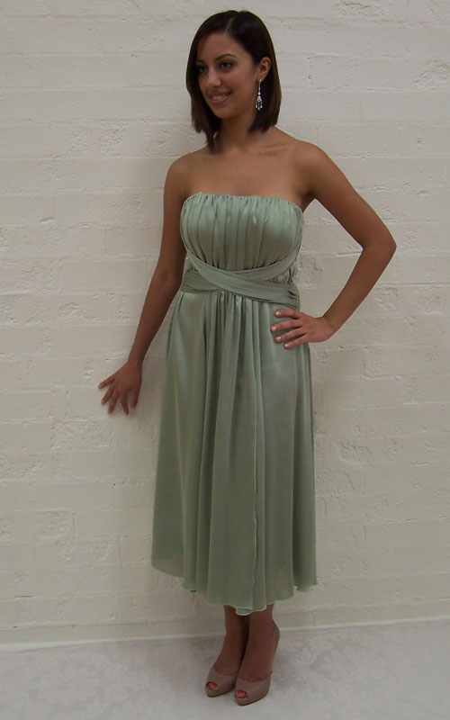 Green Strapless Cocktail Dress - MG1371
