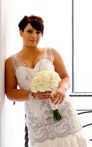 Silver Lace Couture Wedding Dress