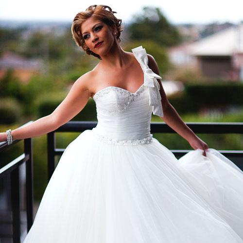 Ivory Meringue Beaded Wedding Dress - A195012 - Sz 8