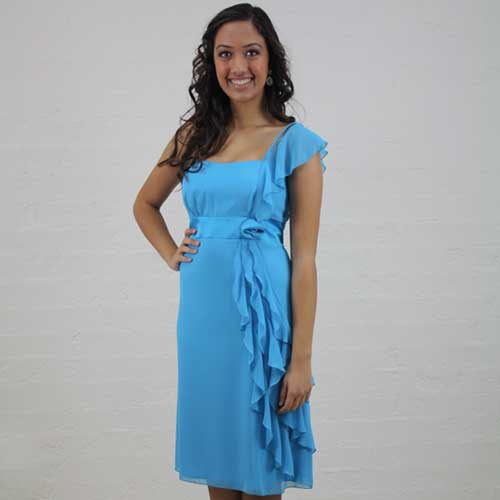 Turquoise Chiffon Single Strap Cocktail Dress - MG1422