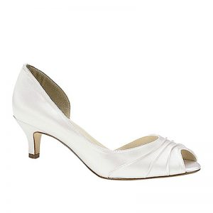 white satin bridal shoes
