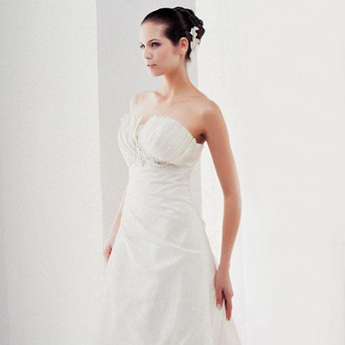 pleated a-line wedding dress