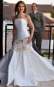 White Strapless Couture Wedding Gown