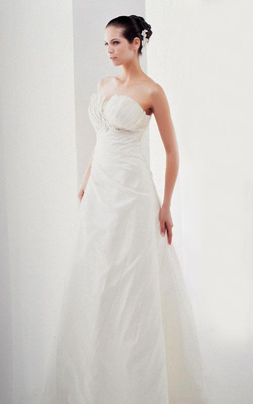 white taffeta wedding dress
