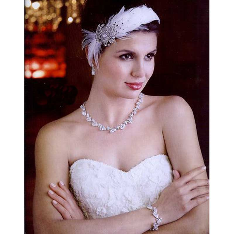 vintage headband with feathers and diamante's - vin151wl