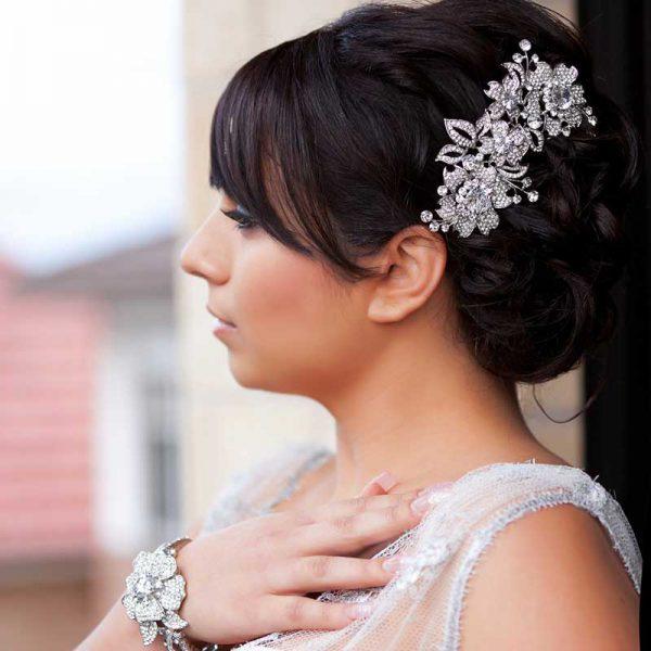 large floral bridal hair comb
