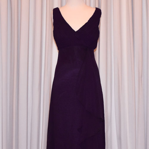 purple chiffon evening dress
