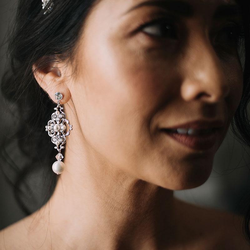 crystal and pearl bespoke bridal earrings