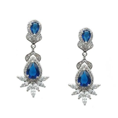 Blue drop bridal earrings - CHBAE0206B