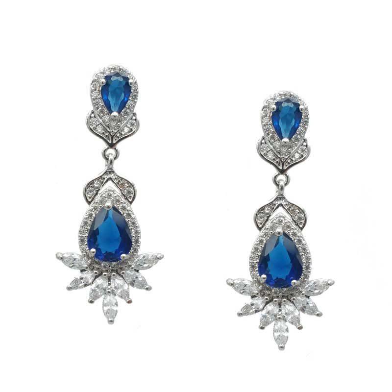 Blue drop bridal earrings - CHBAE0206B
