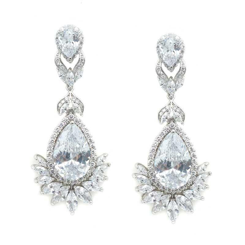 Silver Large Drop Earrings - CHBAE0116