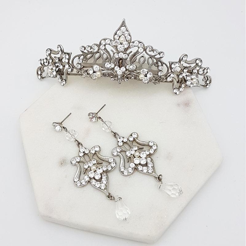 bridal tiara and earring set