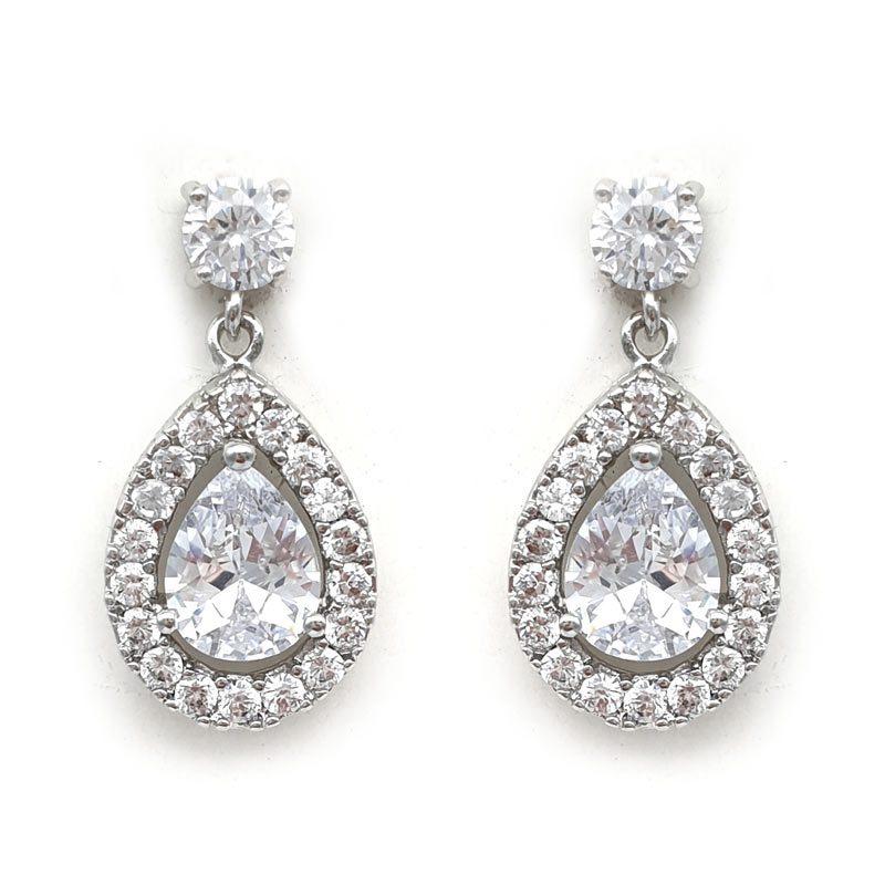 silver paved pear drop earrings