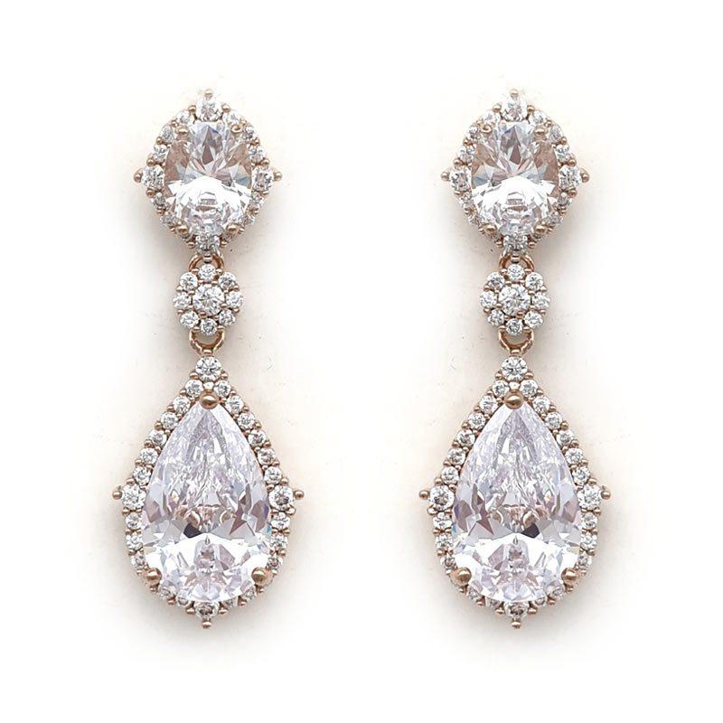 rose gold elegant bridal earrings