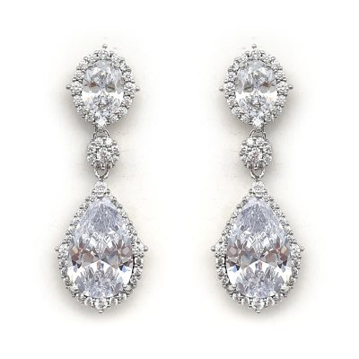 silver elegant drop bridal earrings