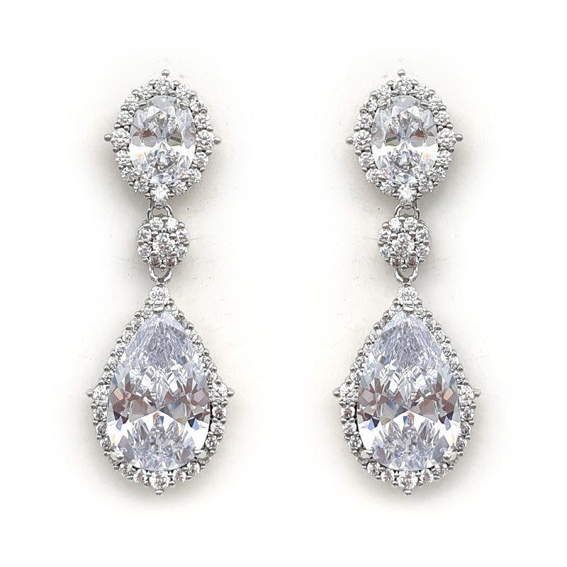 silver elegant drop bridal earrings