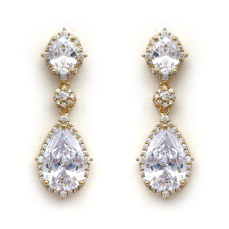 yellow gold bridal drop earrings