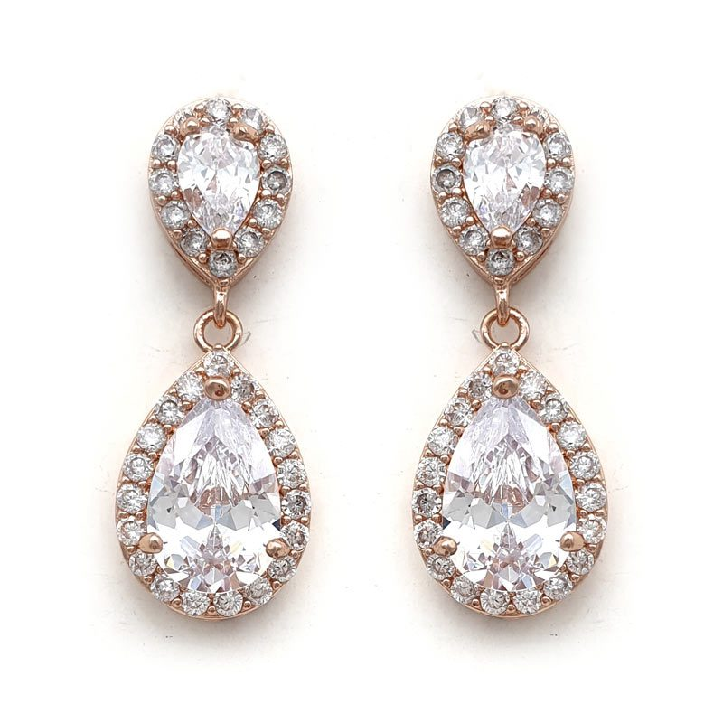 rose gold tear drop paved earrings