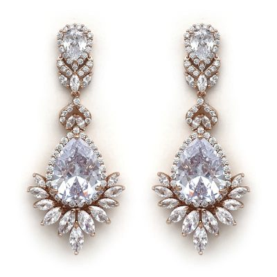 large rose gold bridal drop earrings