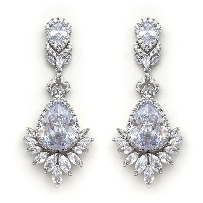 large silver bridal drop earrings