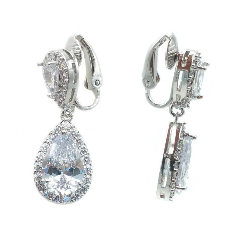 Clip On Bridal Drop Earrings - CHBAE0077