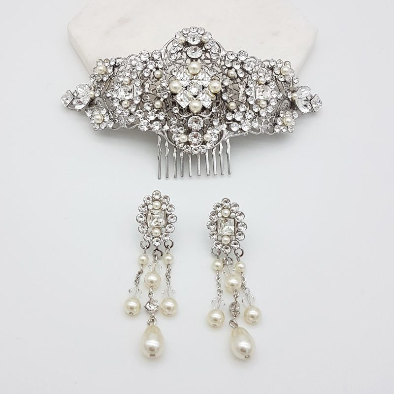 swarovski crystal and pearl bridal jewellery set