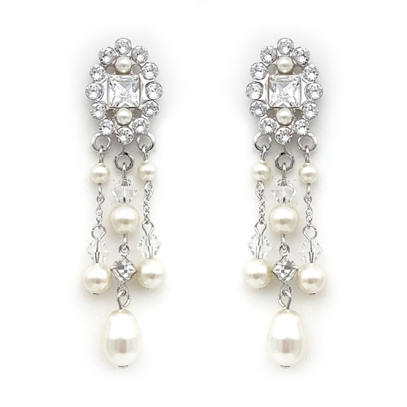 swarovski pearl and crystal bridal earrings