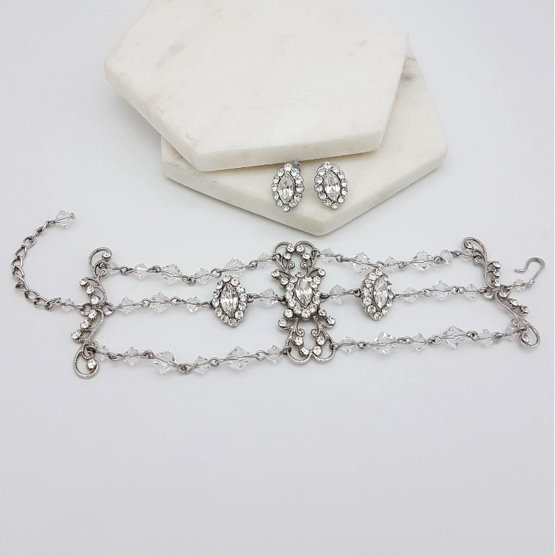 swarovski crystal stud and bracelet set