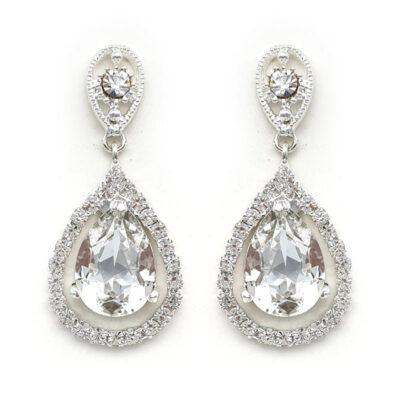 silver swarovski crystal bridal drops