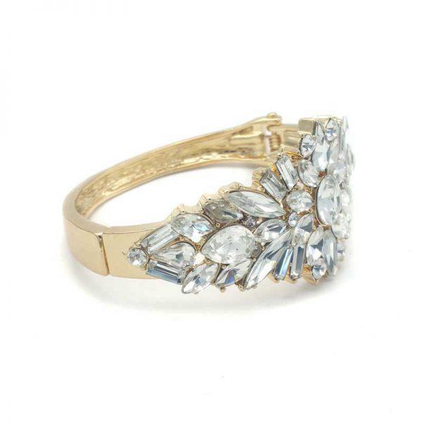 gold crystal bridal cuff - chcb0366