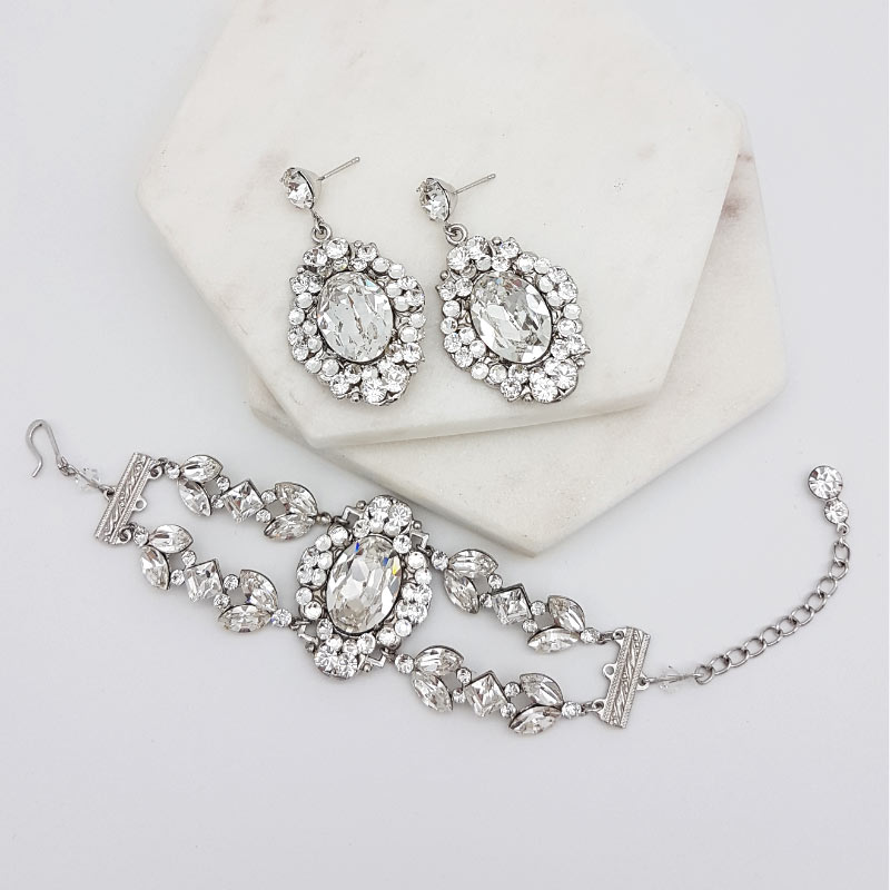 Hollywood Glamour Swarovski Earrings Bracelet Set Glam Couture