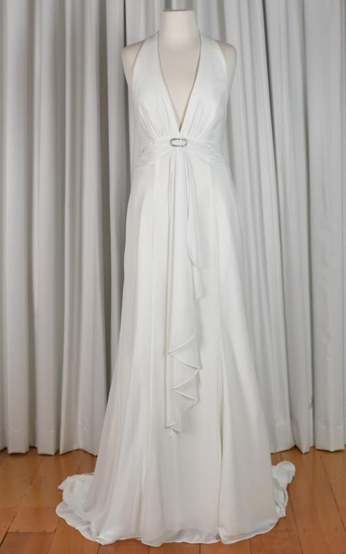 ivory chiffon wedding dress