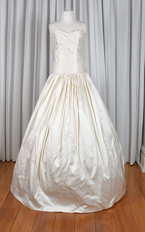 ivory silk beaded bridal gown