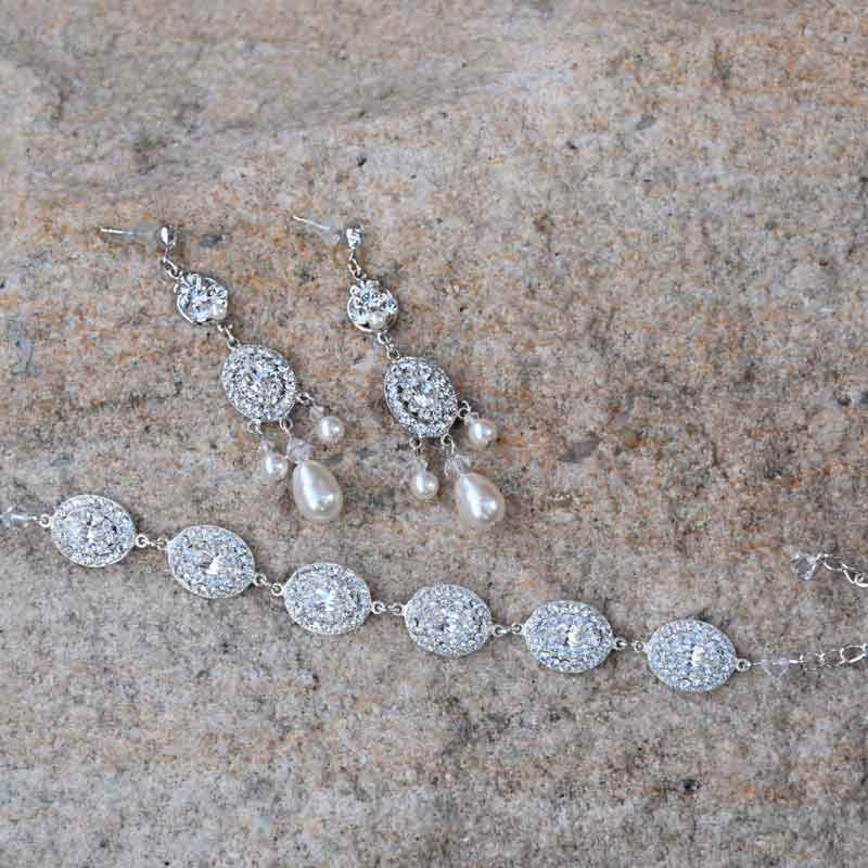 crystal and pearl earrings and bracelet set