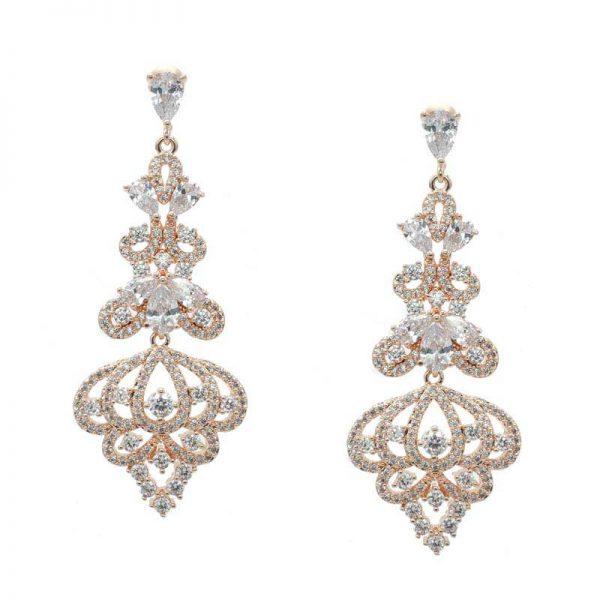 Rose Gold Chandelier Earrings - CHBAE0189