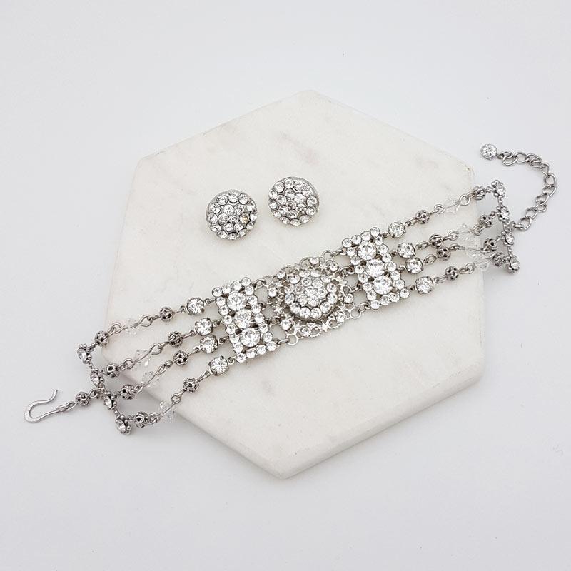 swarovski stud and bracelet jewellery set