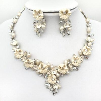 floral blossom bridal necklace set