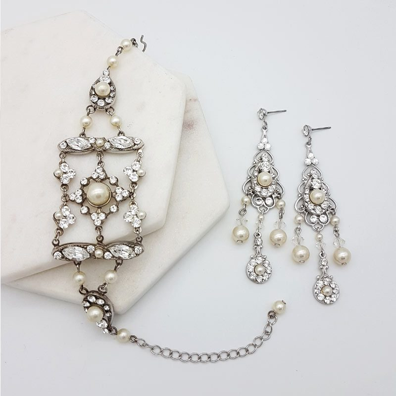 swarovski pearl and crystal earring and bracelet set