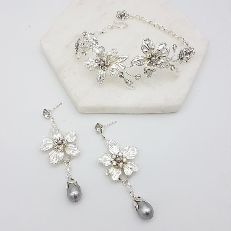 floral bracelet bridal set