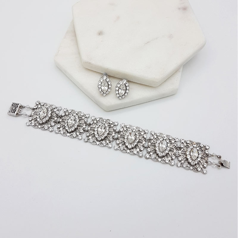 silver crystal stud and bracelet set