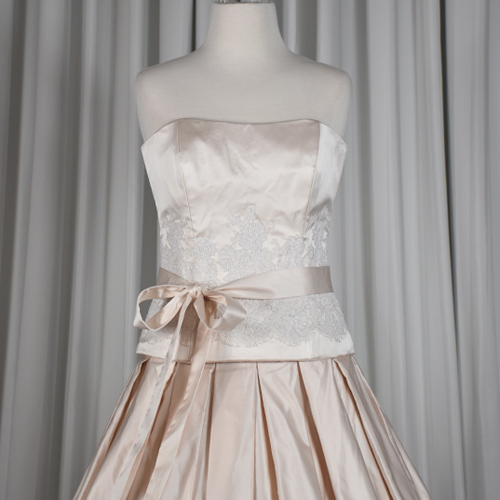 pink silk wedding gown