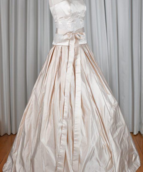 pink silk wedding dress